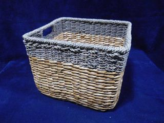 Threshold handcrafted decor basket  seagrass gray 14 1 2in l X 13in W X 11in H