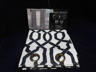 Half Moon Edward Trellis white and black room darkening insulated window curtains  2 panels  each  52in X 84in   pair  104in X 84in