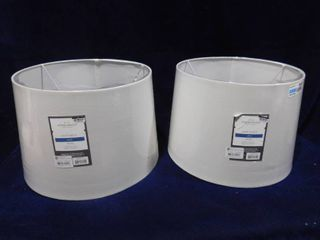 Threshold 2 off white large lamp shades  top dia  13in   bottom dia  15in   Height  10in
