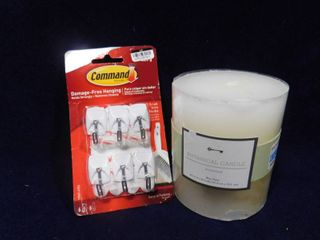 Threshold botanical candle  unscented 4 1 2in H X 4in in dia and Command damage free hanging strips  6 pack