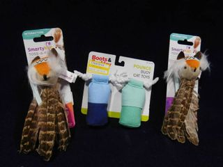 Boots Barkley set of 2 pounce buoy cat toys and 2 Smarty Kat Toss A Fox feathery toy