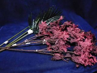lot of Threshold 3 purple leaf stems and 3 palm green leaf stems