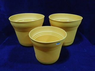 Set of 3 saturn earthy yellow planters  2 large and one medium