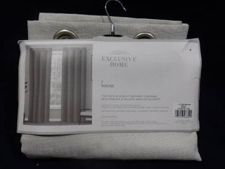 Exclusive home bensen 2 silver 100  blackout grommet curtains 96in l