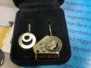 Polished Double Circle Dangle lever Back 14K Earrings