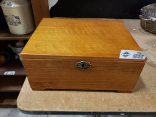 Wooden Jewelry Box With Costume Jewelry