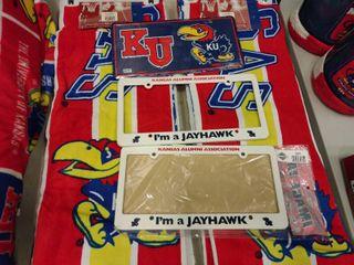 lot of 2 KU license Plates  2  I m a Jayhawk  license Plate Covers and a Mini Jayhawk