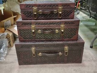 Set of 3 Woven Rattan Valise  Style Chests