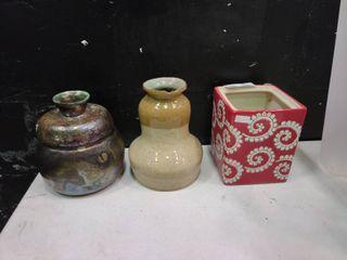 lot of 3 Ceramic Pots