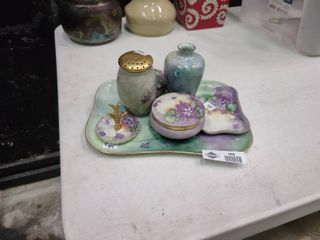 Set of 7 Piece Set of Purple Floral Decor