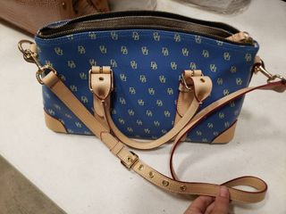 Blue and Tan Dooney and Bourke Handbag with Sunglasses Pouch and Wallet