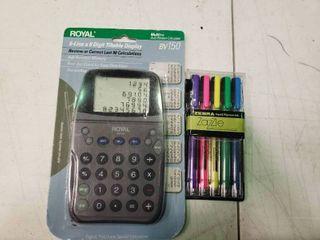 Royal BV150 Calculator and Zebra Zazzle Colored Pens