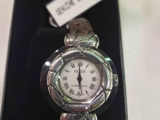 Ecclissi Sterling Silver Watch with Genuine leather Band