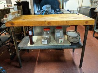 Butcher Block Table  Contents Not Included