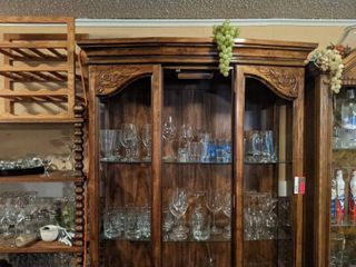 Wooden Cabinet With Contents  Glass Missing  Buyer Responsible For Removal