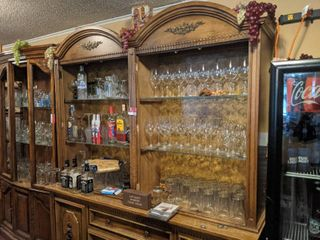 Wooden Cabinet With Contents  Buyer Responsible For Removal  Alcohol Not Included