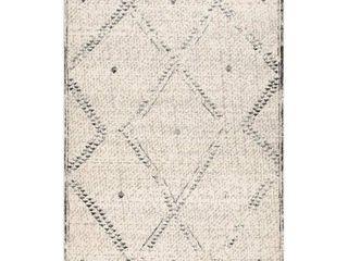 nulOOM Ivory Casual Aztec Geometric Moroccan Trellis Fancy Tassel Area Rug  Retail 174 36