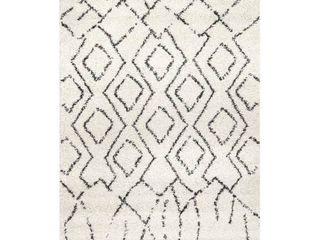 nulOOM Off white Moroccan Tribal Geometric Tassel Shag Rug  Retail 169 49