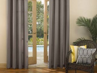 Sun Zero Reed Woven Indoor Outdoor UV Protectant Room Darkening Grommet Curtain Panels   Set of 2