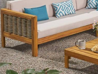 linwood Outdoor Wood  amp  Wicker Sofa by Christopher Knight Home Retail