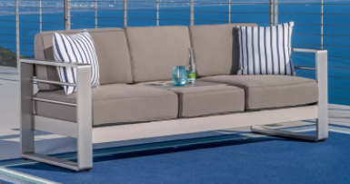 Cape Coral Outdoor Aluminum love Seat by Christopher Knight Home