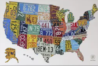 Porch  amp  Den  license Plate Map USA  Canvas Art