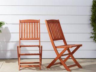 Vifah Outdoor Eucalyptus Wood Folding Bistro Chairs   Set of 2
