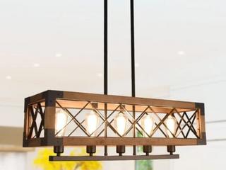 5 light Wood Kitchen Island Cage light