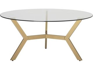Studio Designs ArchTech Round Mid Century Modern Tempered Glass Coffee Table
