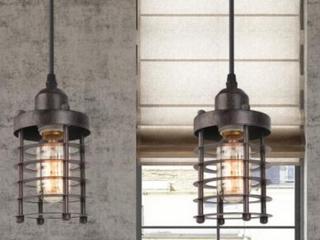 Industrial 1 light Spiral Mini Pendent light Fixtures   Set of 2