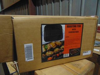 2  NEW ROASTING PANS WITH FlOATING RACKS
