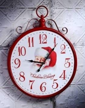 25  Metal Battery Old World Santa Clock