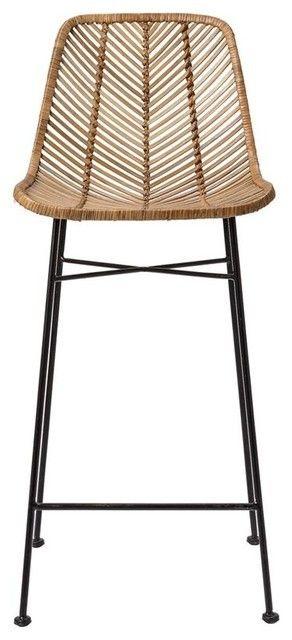 Rattan bar stool with metal frame