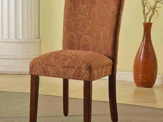 HomePop Parsons Dining Chair   Red and Gold Damask Retail 77 98