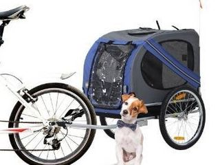 Aosom Outdoor Folding Pet Dog Bicycle Trailer and Stroller Jogger Cart   Blue and Grey