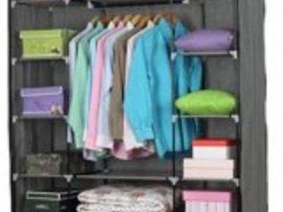 5 layer 12 Compartment Non woven Fabric Wardrobe Portable Closet Gray  133x46x170cm