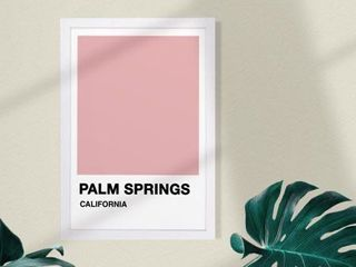 Wynwood Studio Cities and Skylines Framed Wall Art Prints  Palm Springs Color Swatch  United States Cities   Pink  White