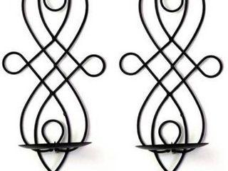 CAlIDAKA 2pcs Wall Candle Sconces Metal Elegant Pillar Candle Holder Hanging Wall Candleholders