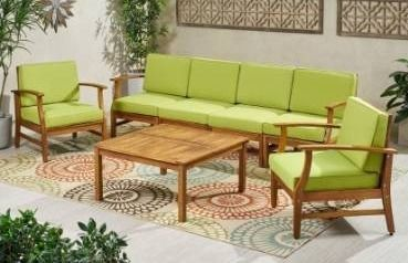 Perla Outdoor Acacia Wood left arm chair with Cushion by Christopher Knight Home