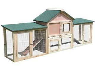 PawHut Outdoor Rabbit House 83  2 Story Deluxe Xl Wooden Rabbit Hutch Big Bunny Cage w  ladder and Run