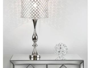Silver Orchid 27 5 inch Table lamp w  Crystal Bling Shade   Nickel
