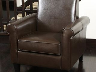 Freemont Brown Bonded leather Club Chair by Christopher Knight Home Retail 242 99