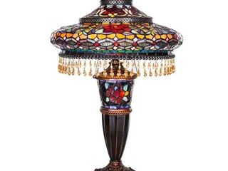Gracewood Hollow lachmet Multicolored Stained Glass Table lamp  27 5 in    17 l x 17 W x 27 5 H