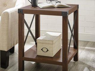 Rustic Wood Side Table   Dark Walnut
