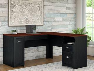 l Shaped Fairview Desk Antique Black   Bush Furniture
