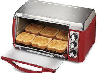 Hamilton Beach Red Ensemble 6 slice Toaster Oven w  Broiler