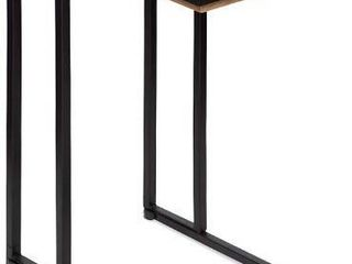 Kate and laurel lockridge Industrial Modern Farmhouse Wood and Metal Sofa Foldable Side C Table  light Rustic Brown and Black