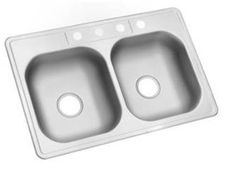 Kingsford 33a x 22a satin double equal bowl drop in 4 hole residential kitchen sink