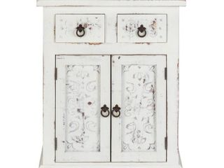 luxurylivingFurniture Solid Wood loft Carved 2 Drawer 2 Door Cabinet  White Distressed