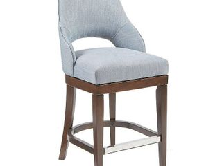 Madison Park Marshall Blue Counter Stool with Swivel Seat Retail 231 75  Missing hardware